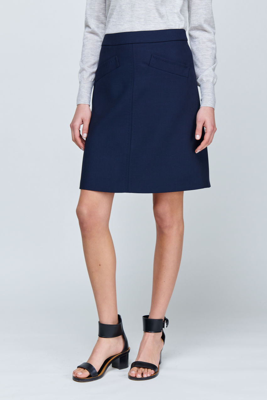 A-line skirt made of double crepe