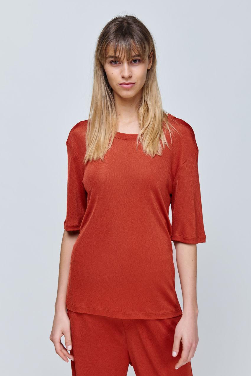 Halbarm Shirt aus fließendem Jersey