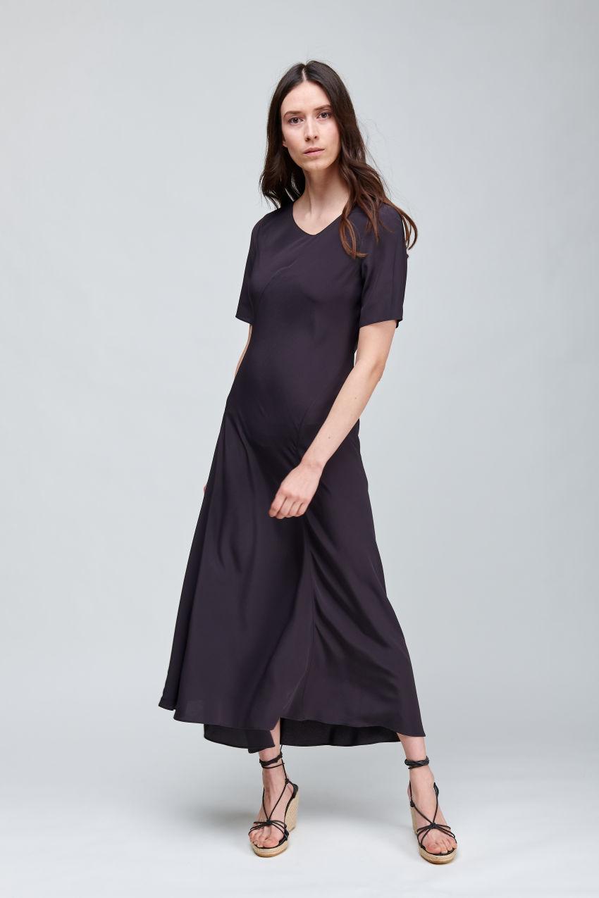 Fliessendes Maxi-Kleid in Crêpe