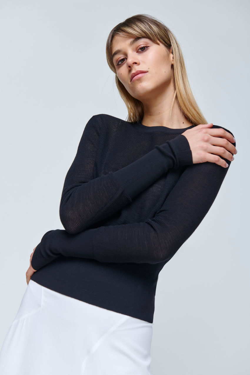 Sommer Pullover in strukturierter Baumwolle