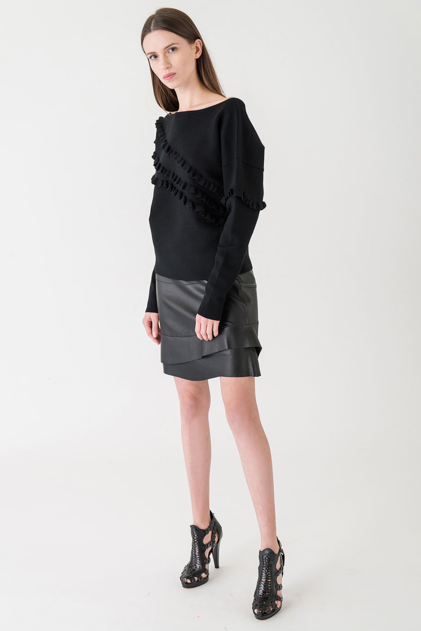 Tiered skirt made of pure nappa leather