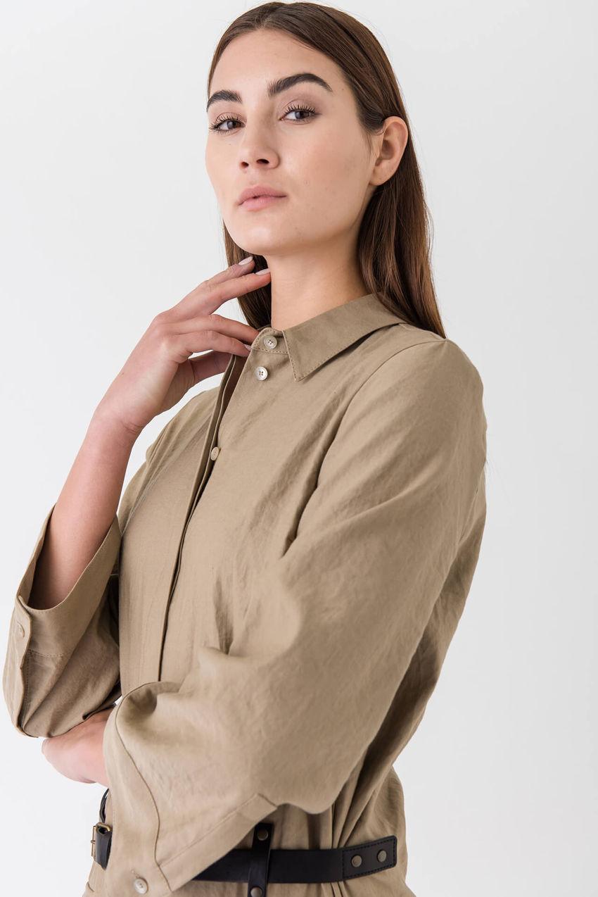 Ausgefallenes Hemdblusenkleid aus Leinen-Blend