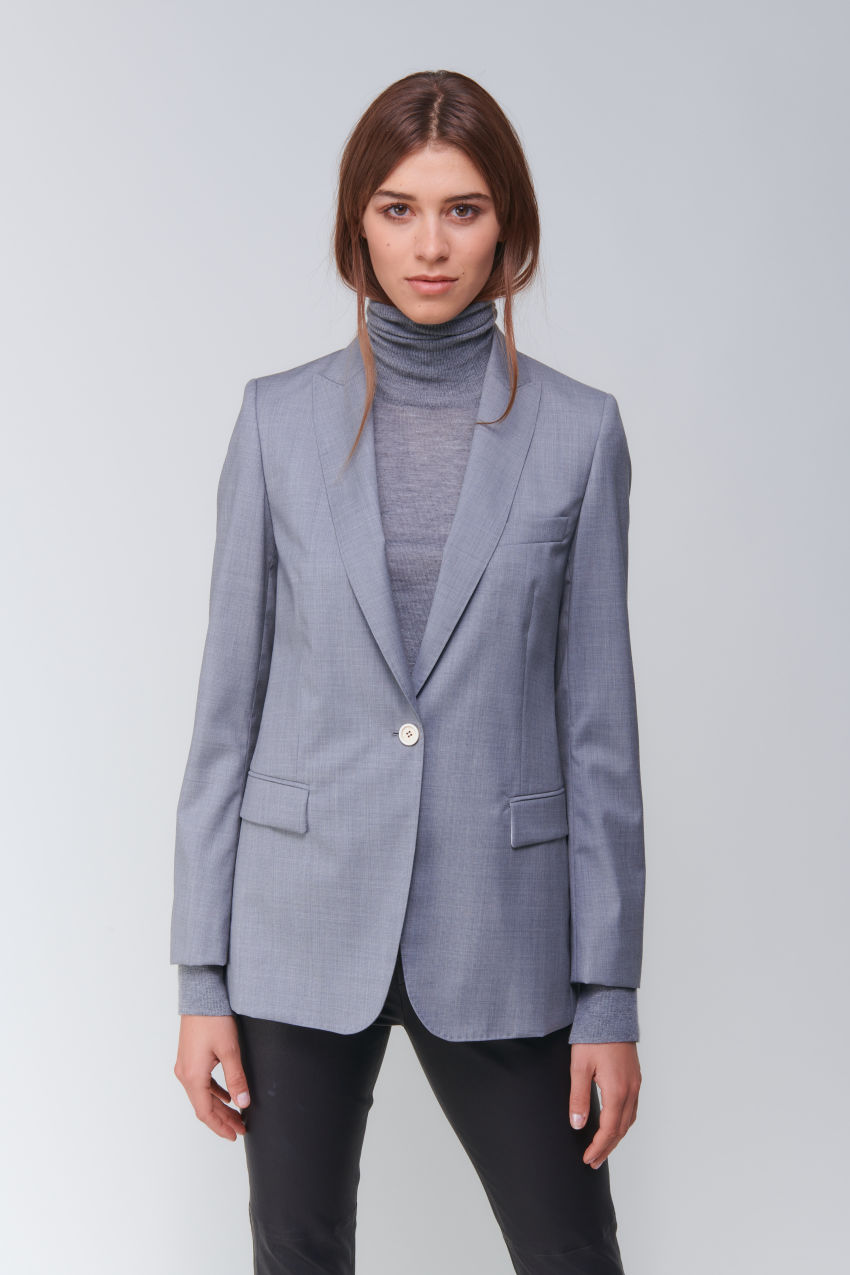 Longer one-button blazer in Super 100 quality