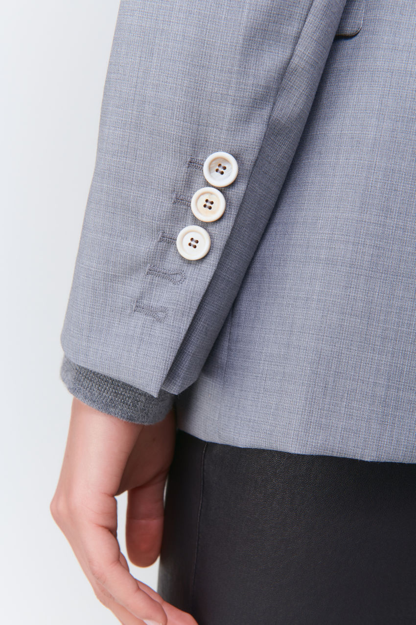 Längerer Ein-Knopf-Blazer in Super 100 Qualität