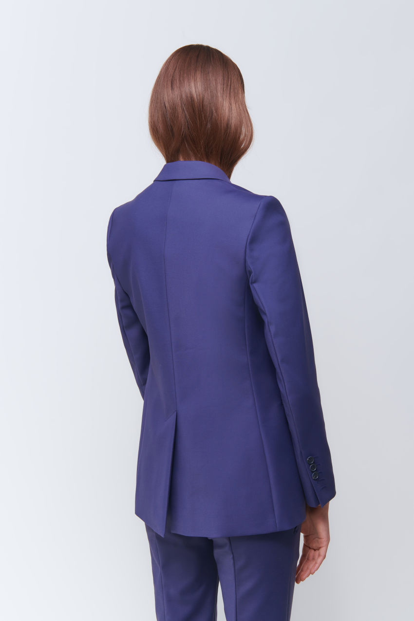 Längerer Ein-Knopf-Blazer in Double Poplin Stretch