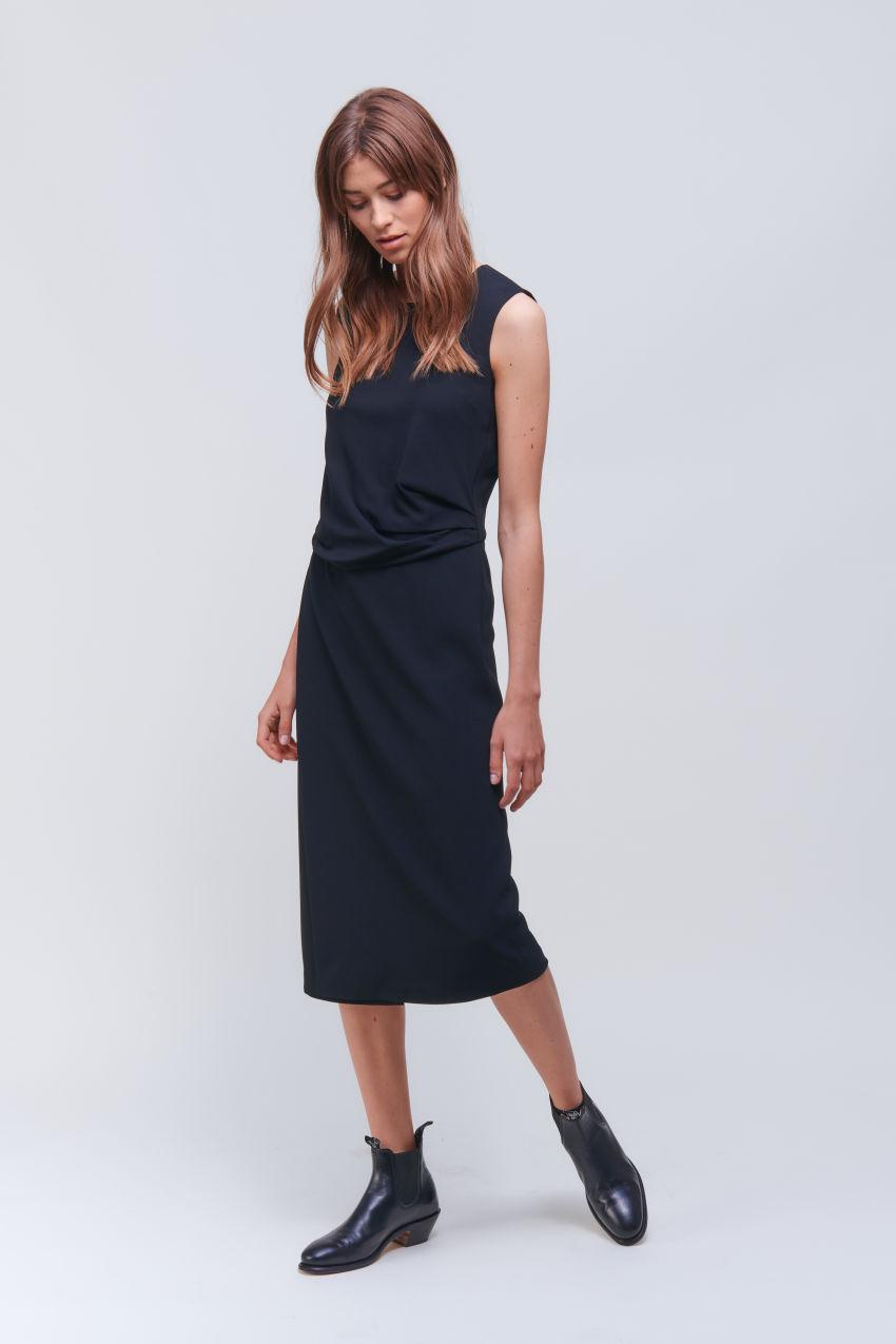 Sleeveless crêpe dress with drape effect