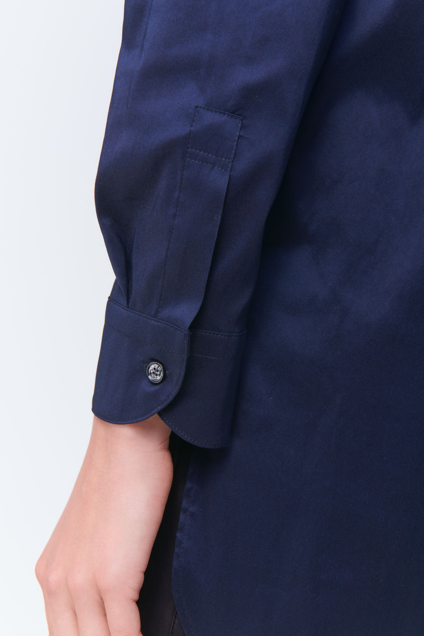 Nonchalant tunic blouse in cotton poplin stretch