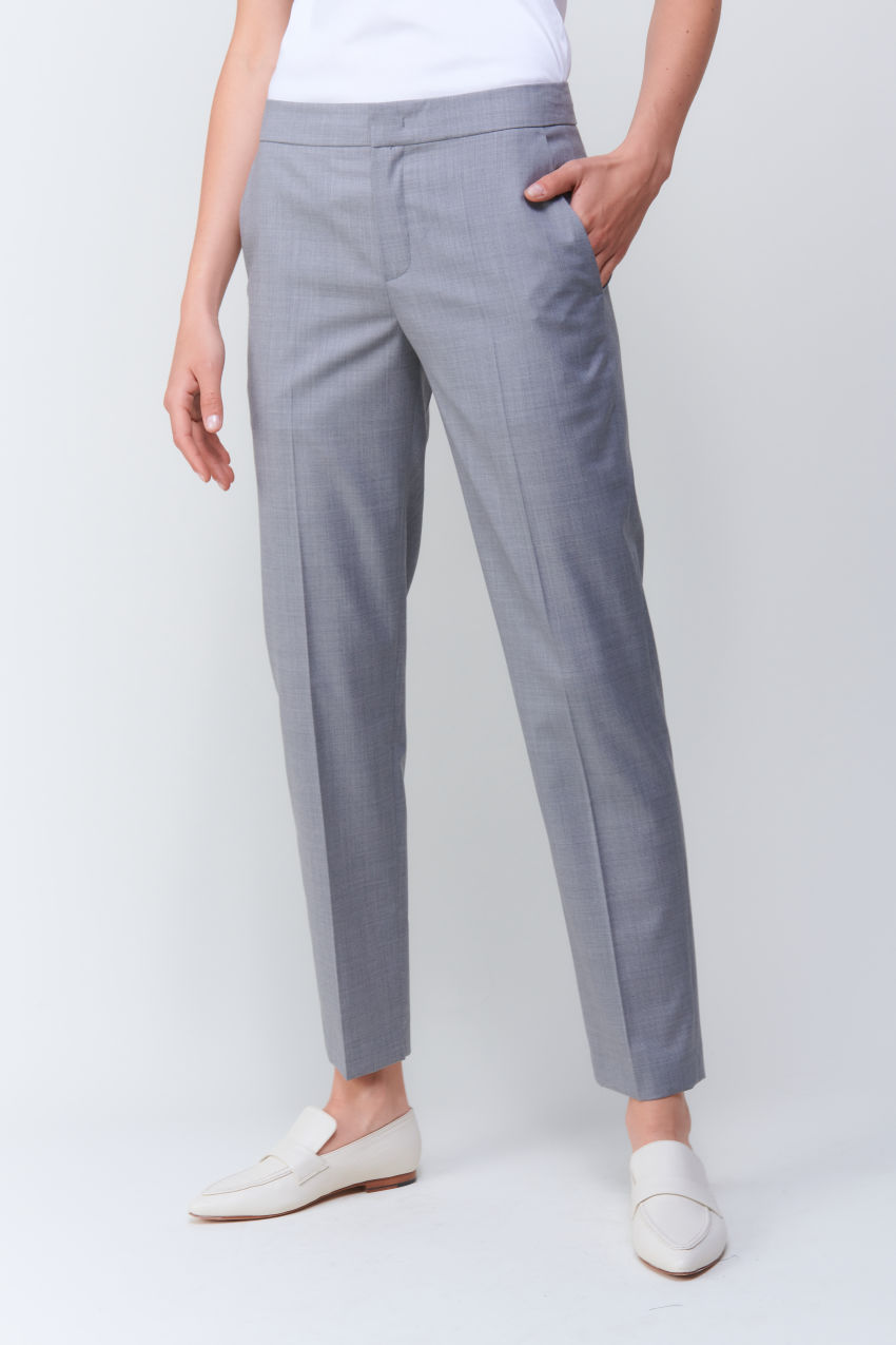 Cropped straight fit pants in Super 100 quality