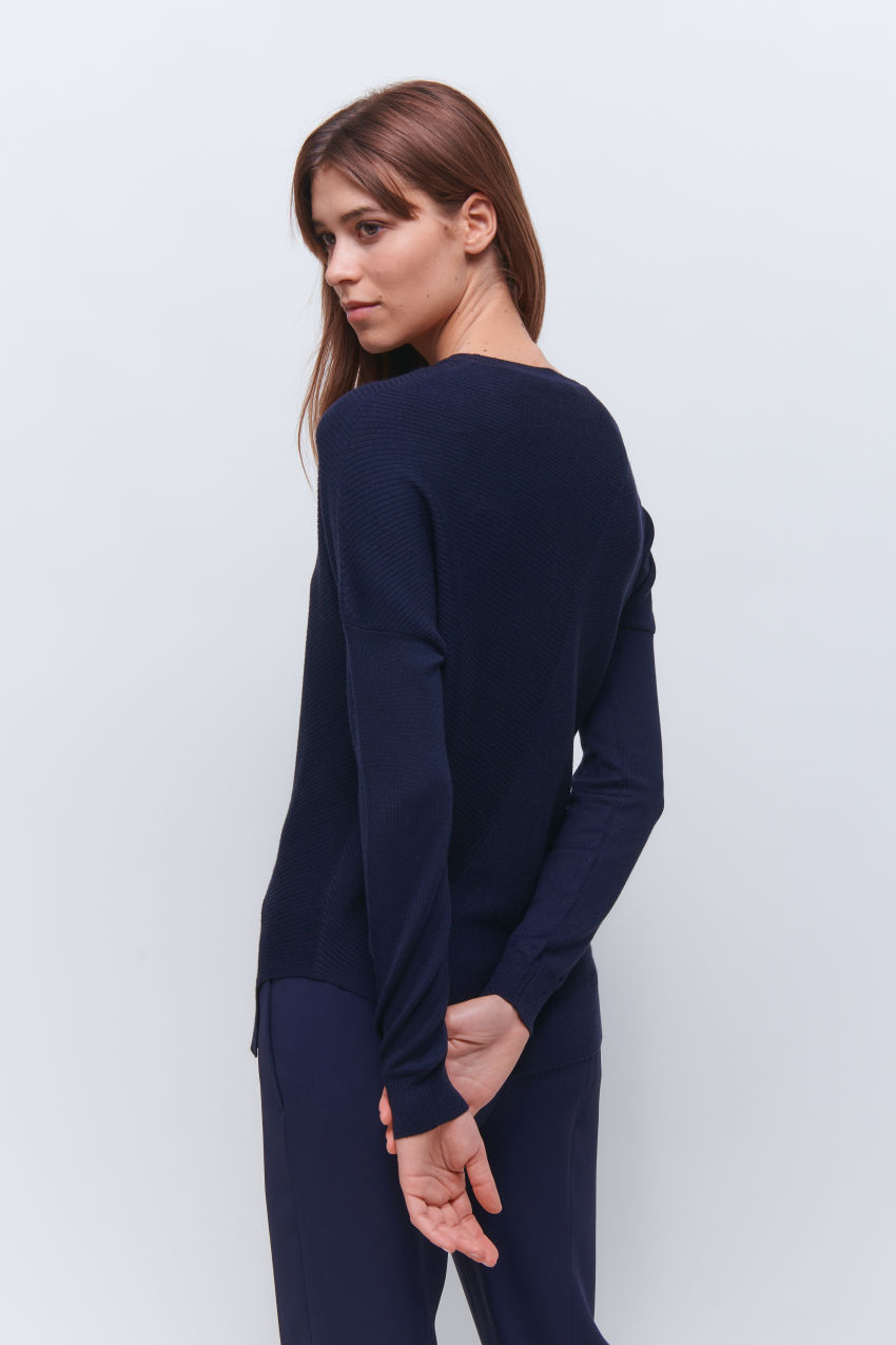 Fancy pullover with special rib design in wool cashmere blend