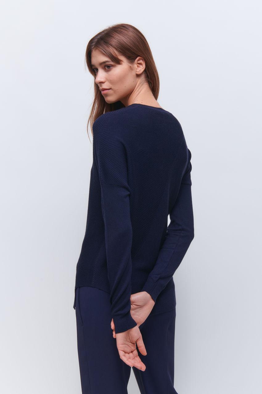 Fancy Pullover mit speziellem Rippen Design in Wolle Kaschmir Mischung