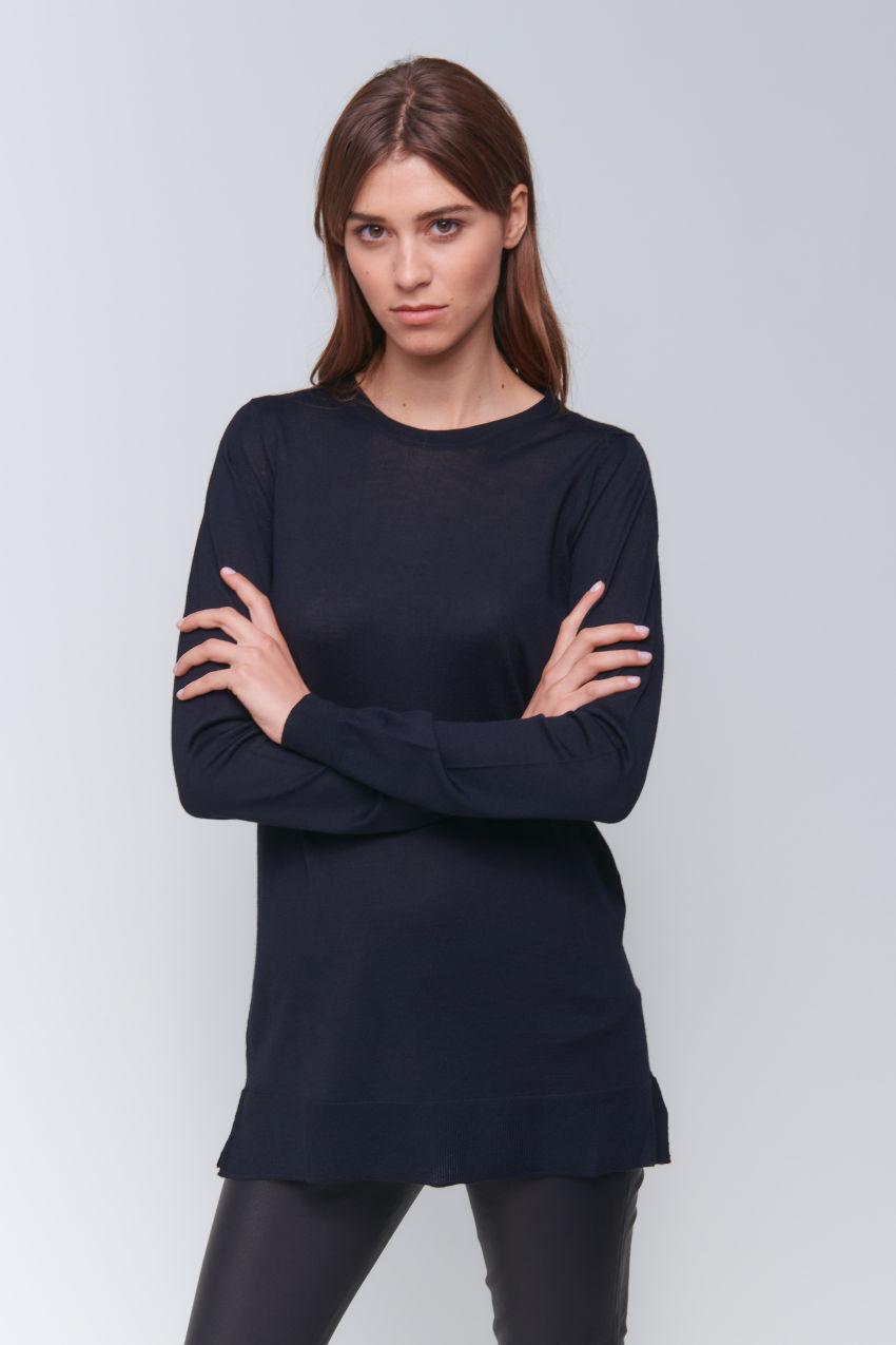 Legerer Long Pullover in Wolle Kaschmir Mischung