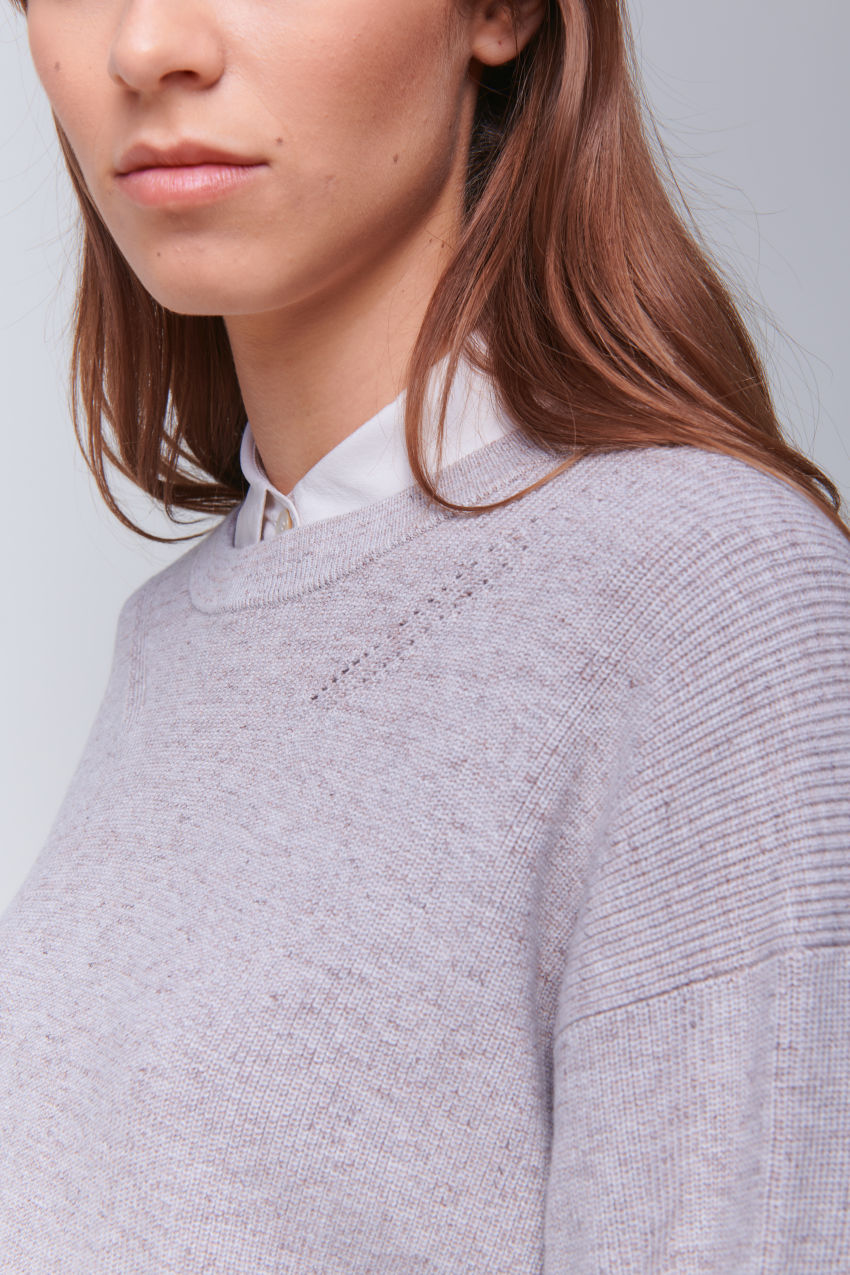 Loose Fit Pullover in Mouliné Garn