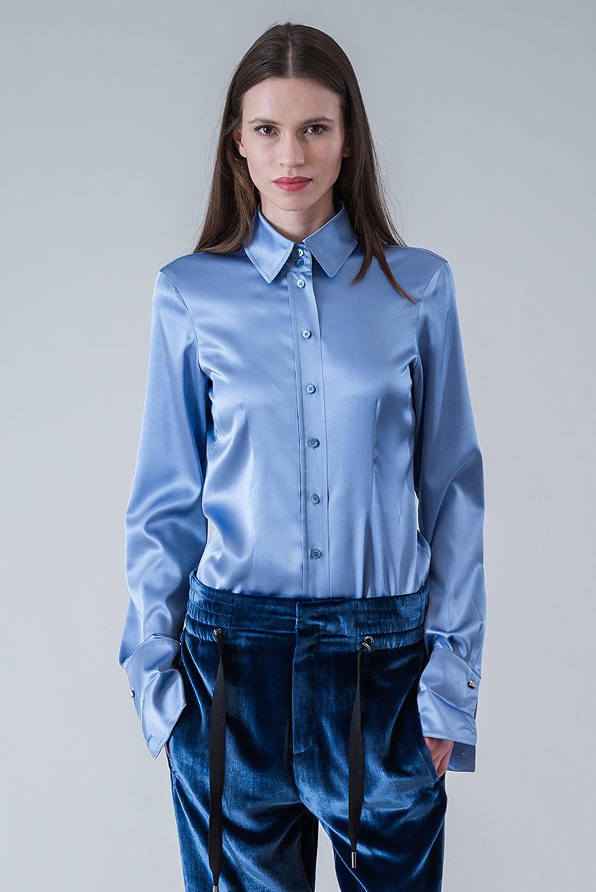 Bluse aus Seiden-Stretch-Satin