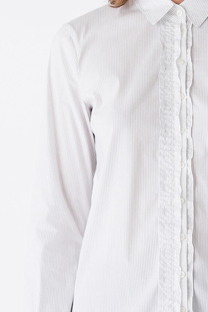 Dekorative Bluse in Nadelstreifen Popelin Stretch