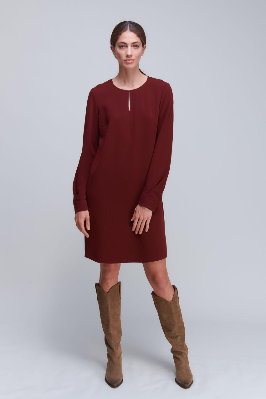 Vielseitiges Langarm Kleid aus Crêpe