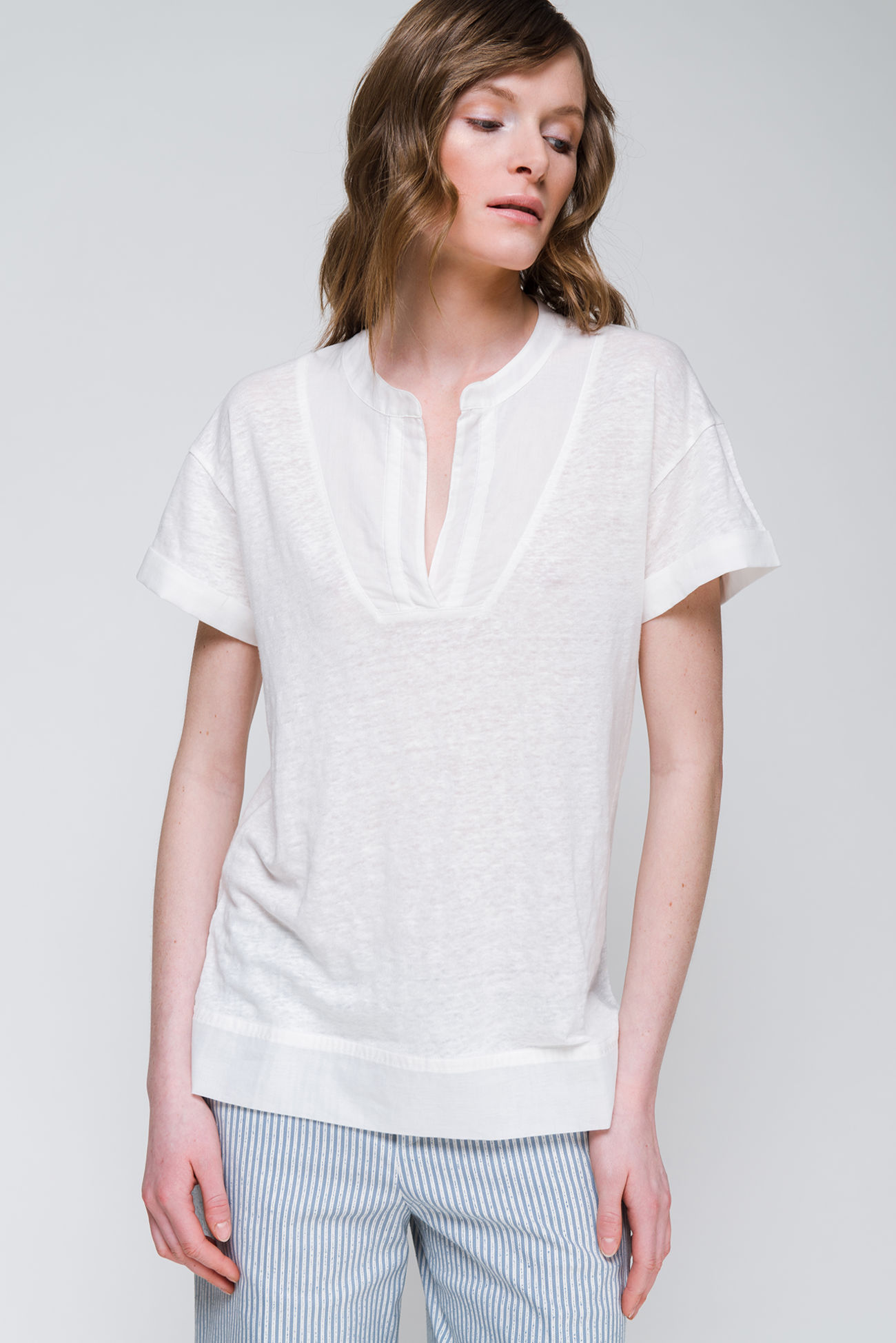 Shirt with voile patches