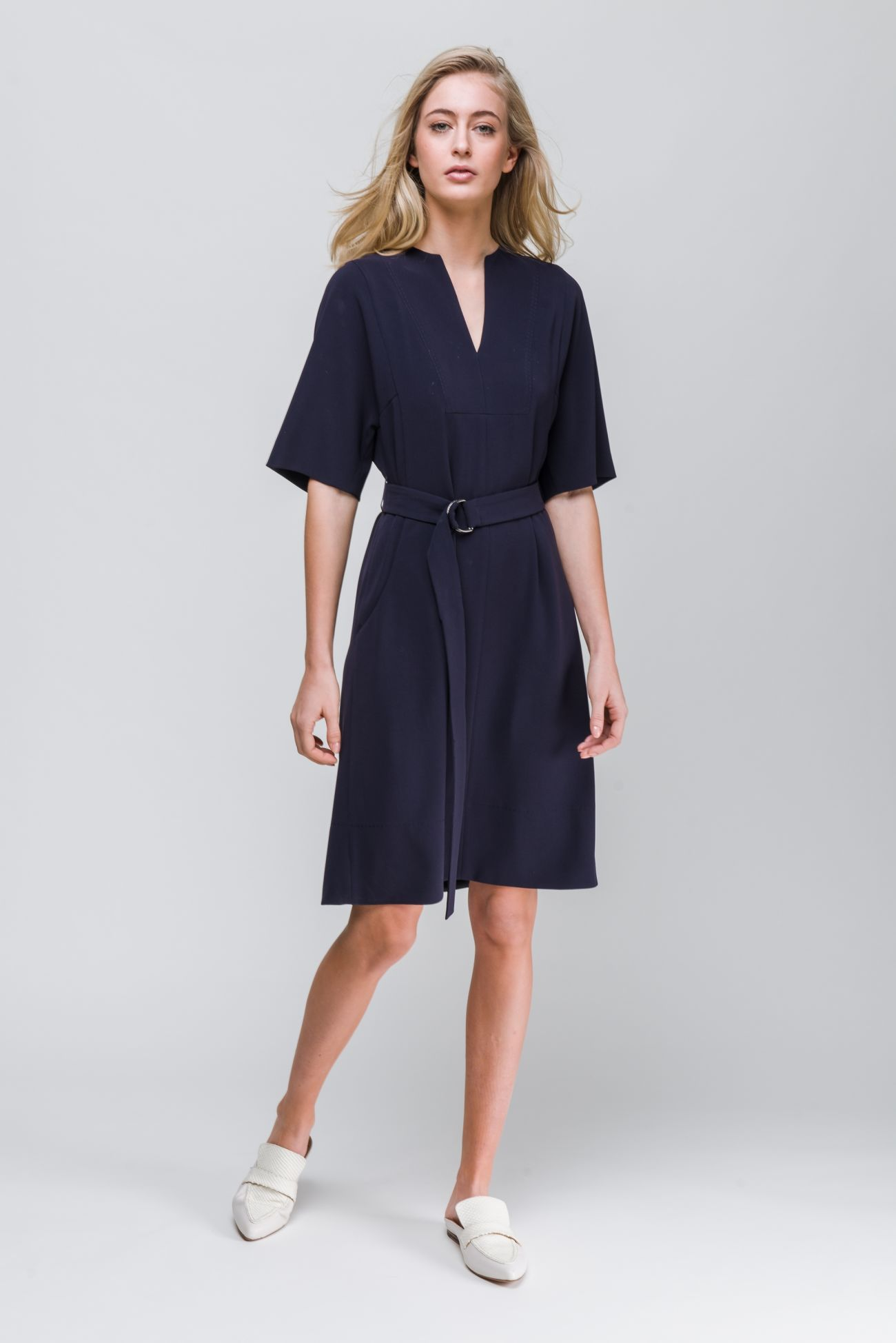 Midi dress in crêpe