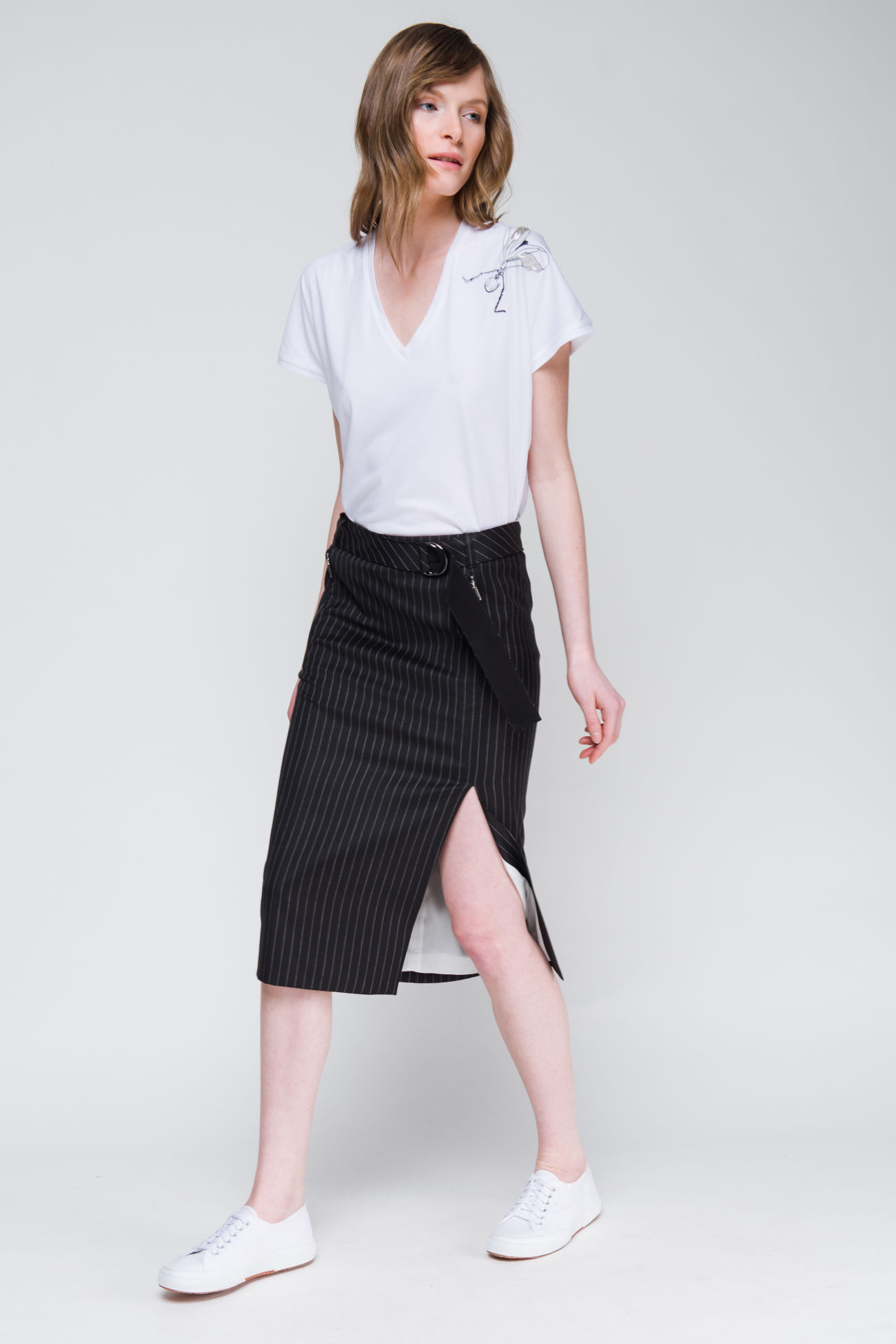 Skirt in a virgin wool mix