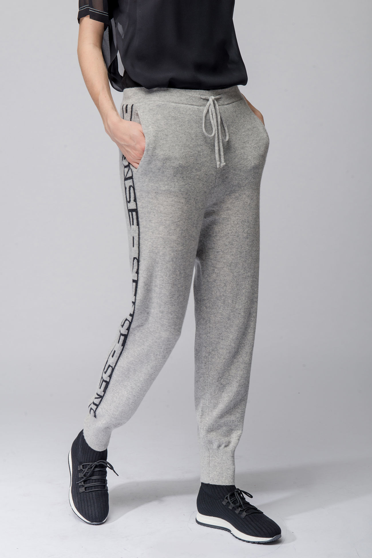 Cashmere pants with logo