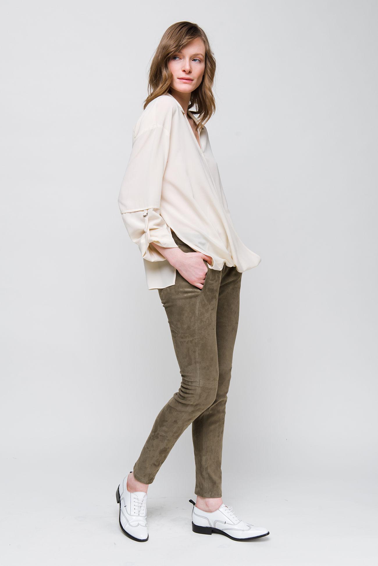 Skinny pants in lamb leather