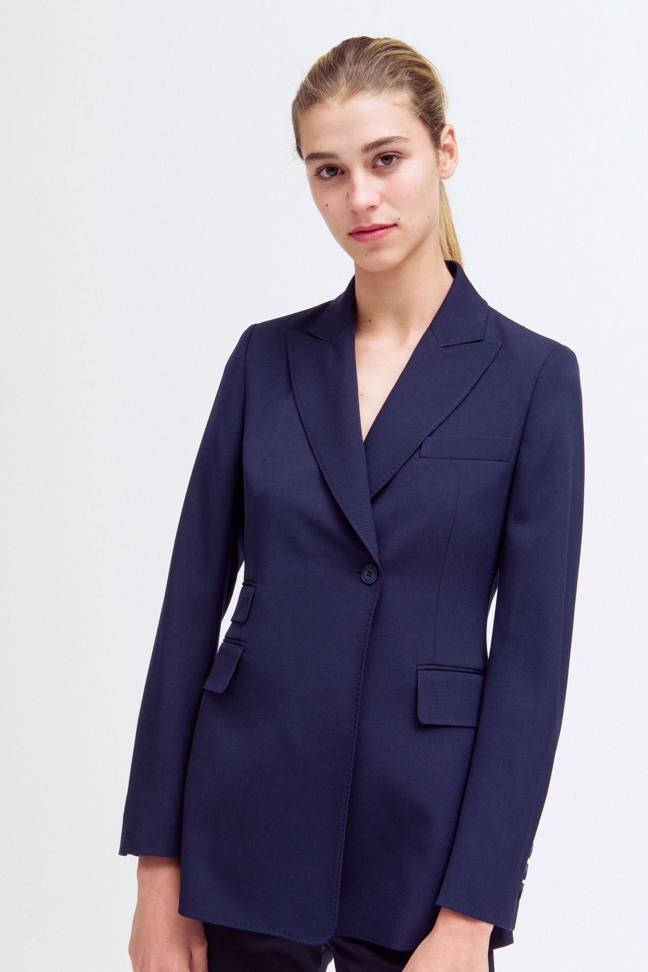 One-hole virgin wool blazer