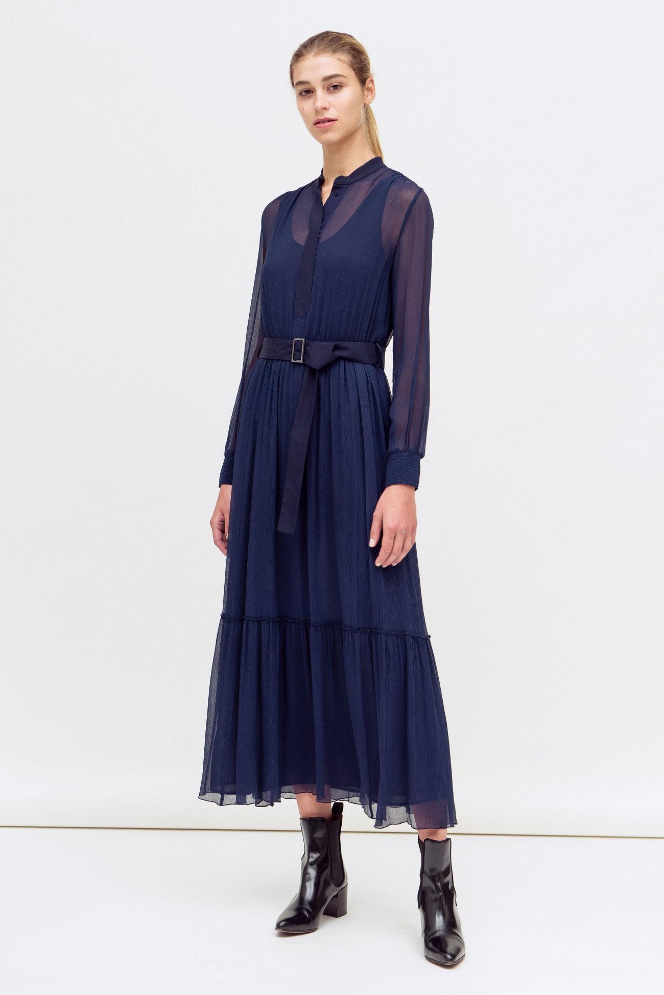 Floor-length silk dress