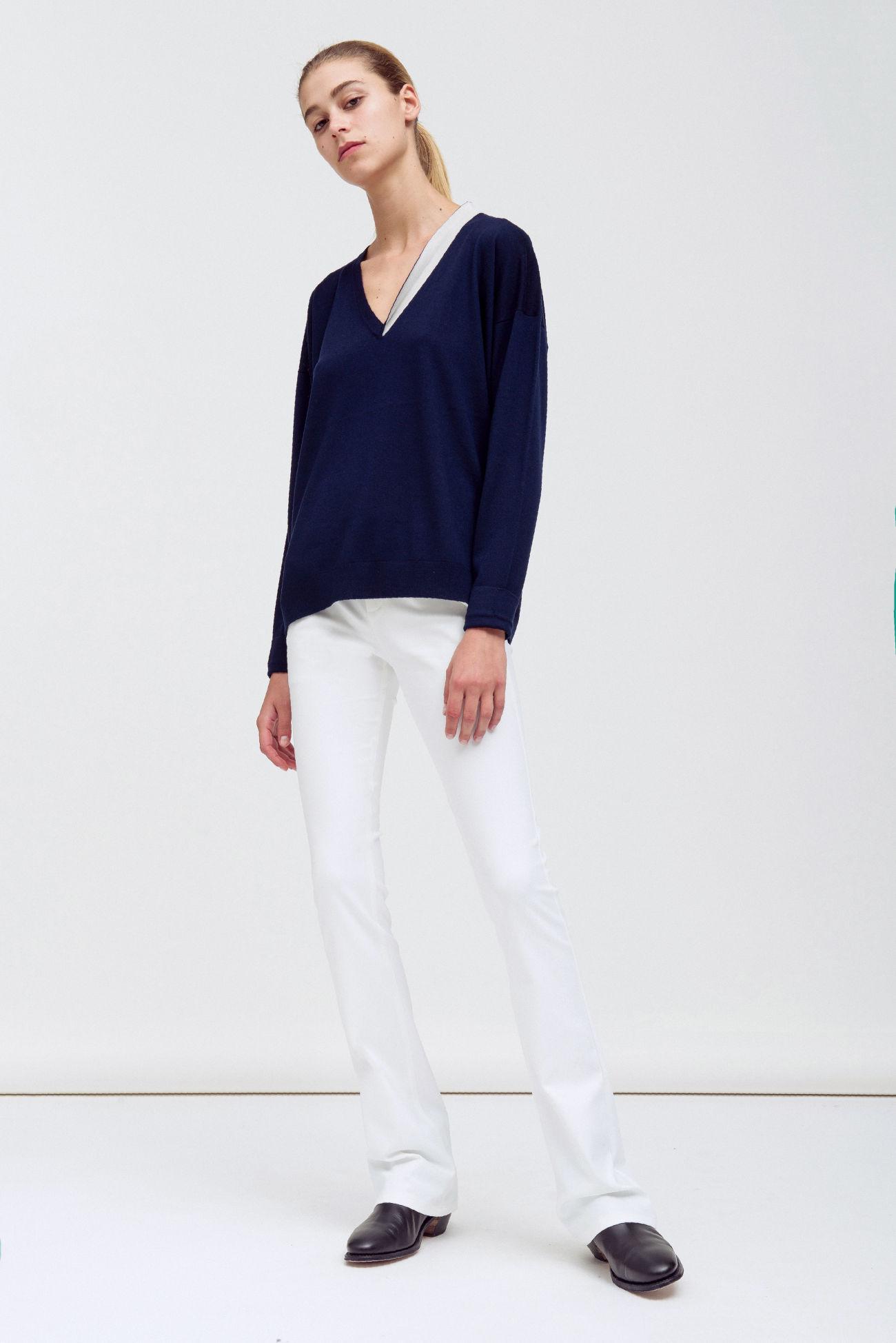 Poplin stretch trousers