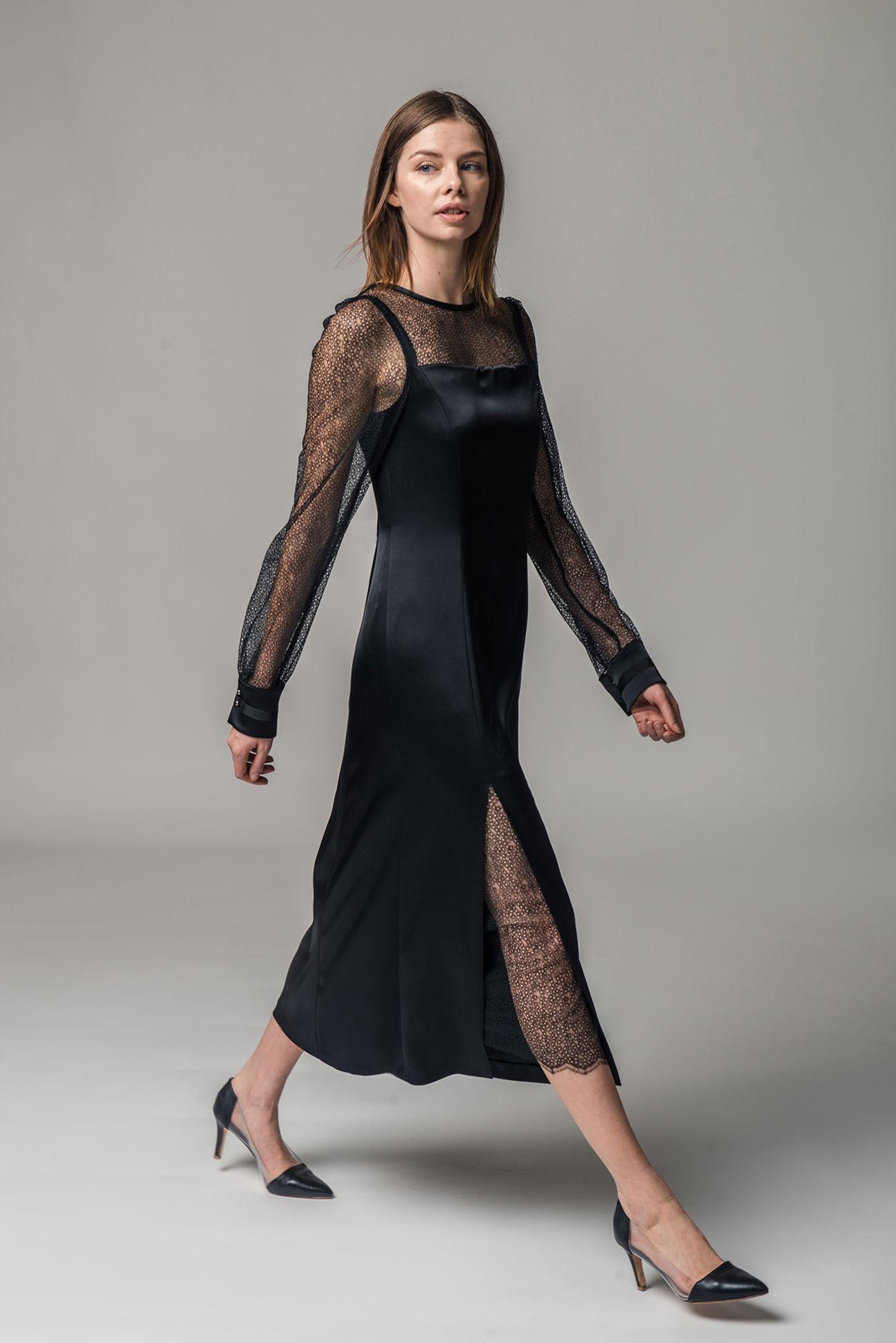 Spitzen-Satin-Kleid