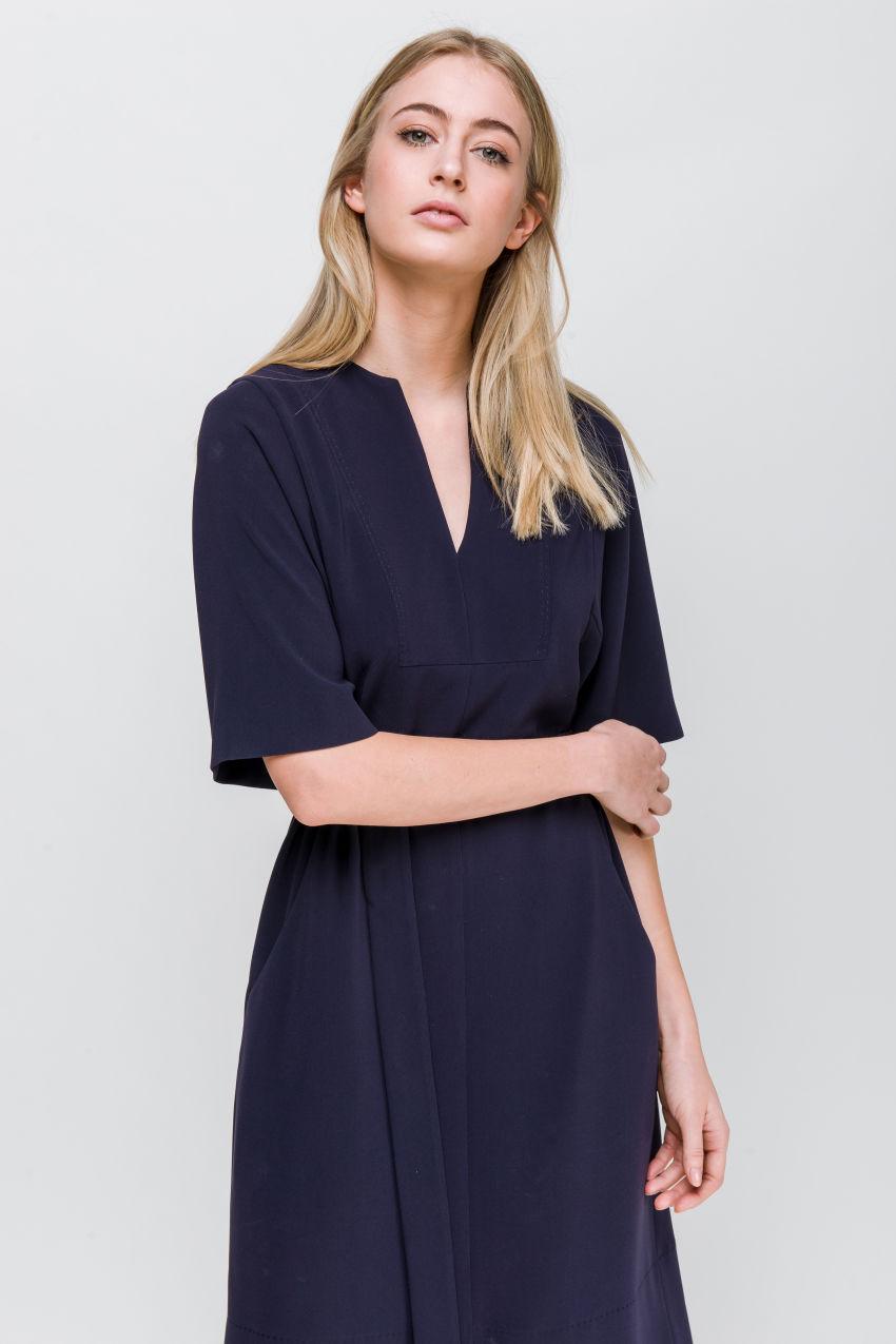 Midi Kleid aus Crêpe