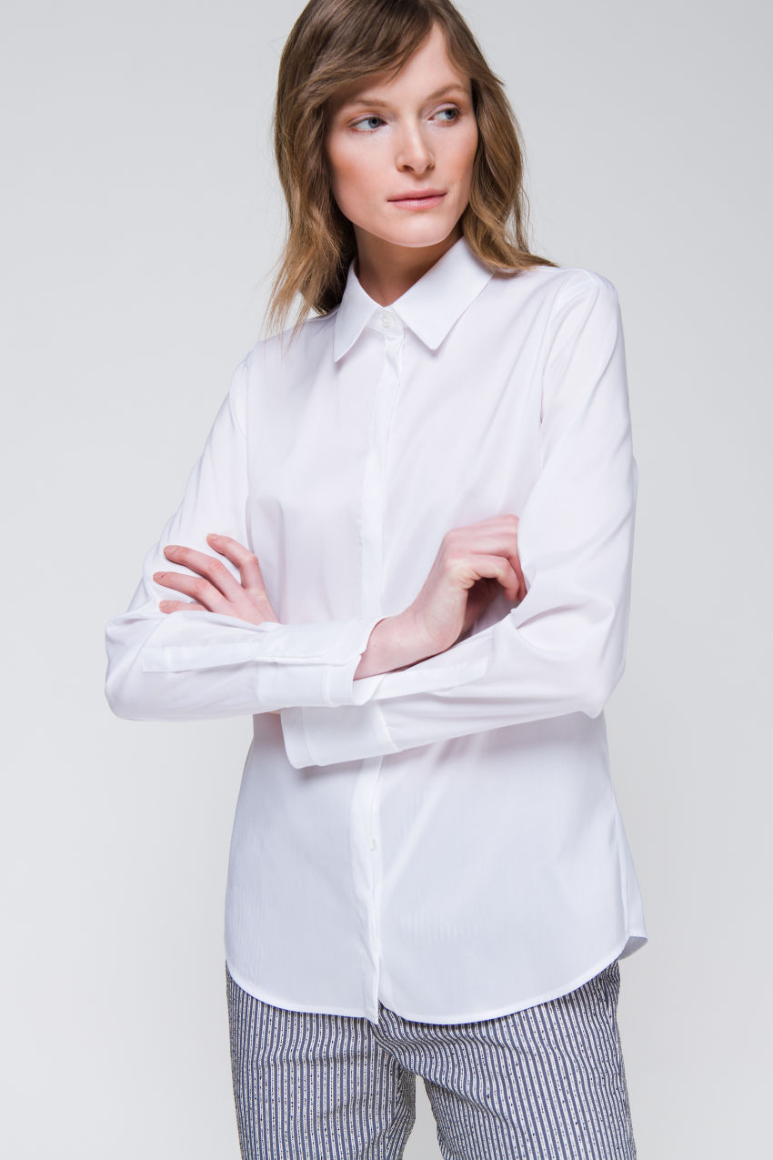 Bluse aus Popelin-Stretch