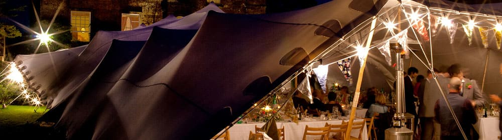 festoon lighting around a stretch tent