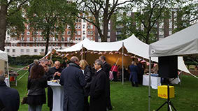 charity event portman square gardens white stretch tent