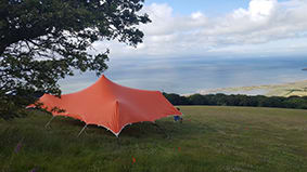 festival tent orange stretch tent devon