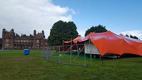 festival tent orange stretch tent rewind north