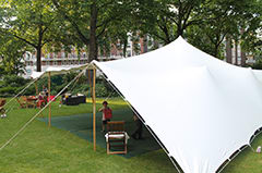 A good example of a stretch tent with sides open and closed