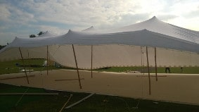 Another angle of our stretch tent being erected