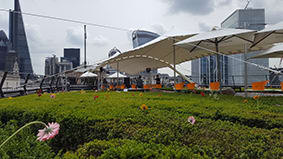 white stretch tent coq d'argent city of london roof terrace garden party
