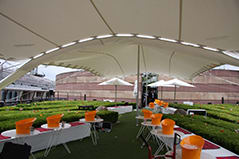 white stretch tent join guttering roof terrce roof garden coq d'argent