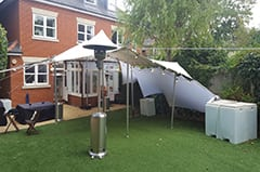 birthday party putney garden astro white stretch tent london patio heater