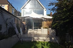 garden party patio attached to house white stretch tent stratford london