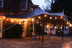 Black stretch tent garden party