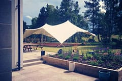 An open sided 10m x 15m tent, used up at Gleneagles