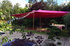 Beautiful pink stretch tent perfect for private parties