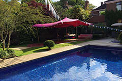 Strech tents are ideal for pool parties