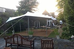 Stretch tents looks amazing in a garden setting