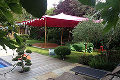 This pink stretch tent looks great used as a gazebo