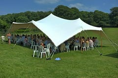 A great example of how the tents providing shade for the guests