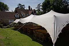 white stretch tent tables and chairs kent