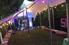 white stretch tent uplights fairy lights garden party putney