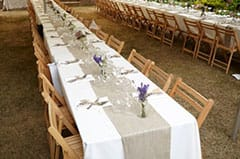 Banquet style tables at Guildford garden wedding